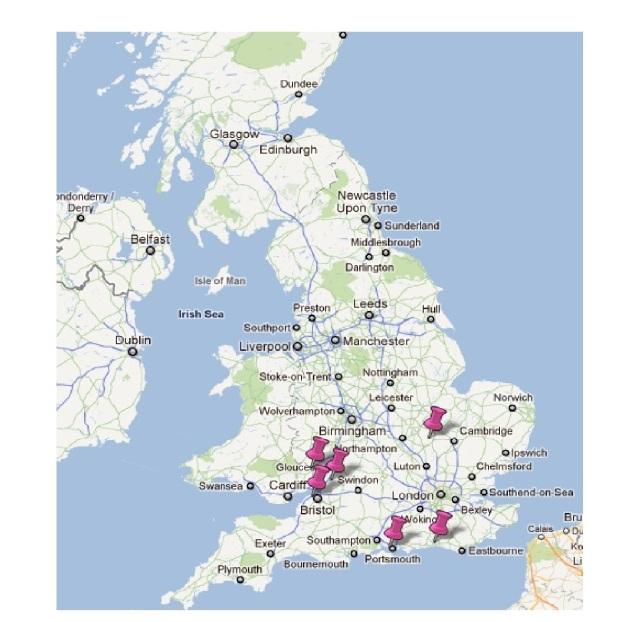 Collegiate Shag UK Map